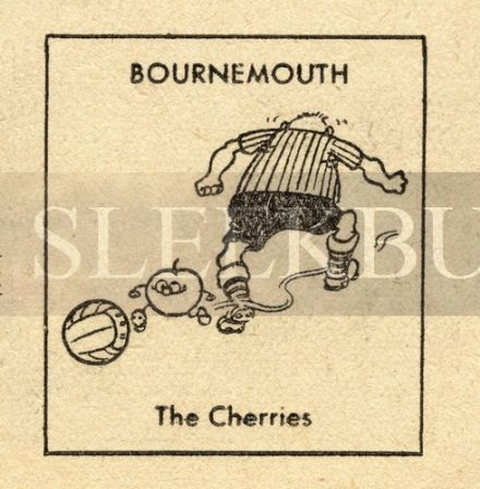 VINTAGE Football Print BOURNEMOUTH - THE CHERRIES Funny Cartoon